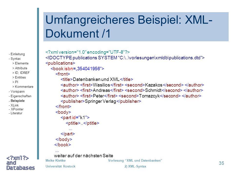 Umfangreicheres Beispiel: XML-Dokument /1