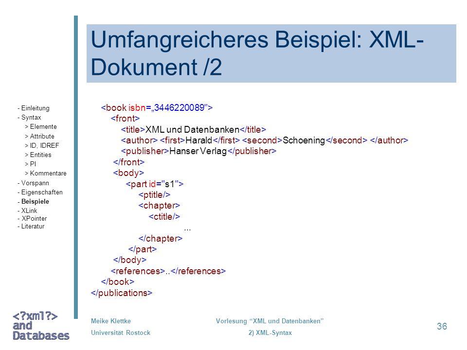 Umfangreicheres Beispiel: XML-Dokument /2