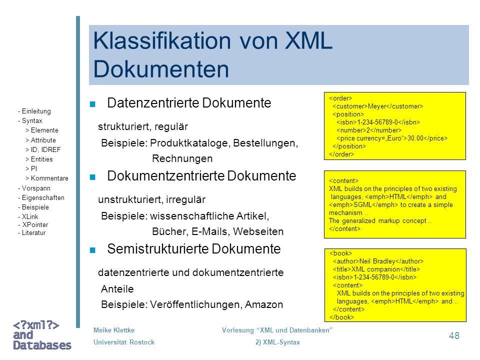 Klassifikation von XML Dokumenten