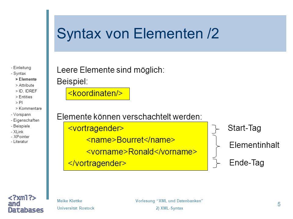 Syntax von Elementen /2 Leere Elemente sind möglich: Beispiel: