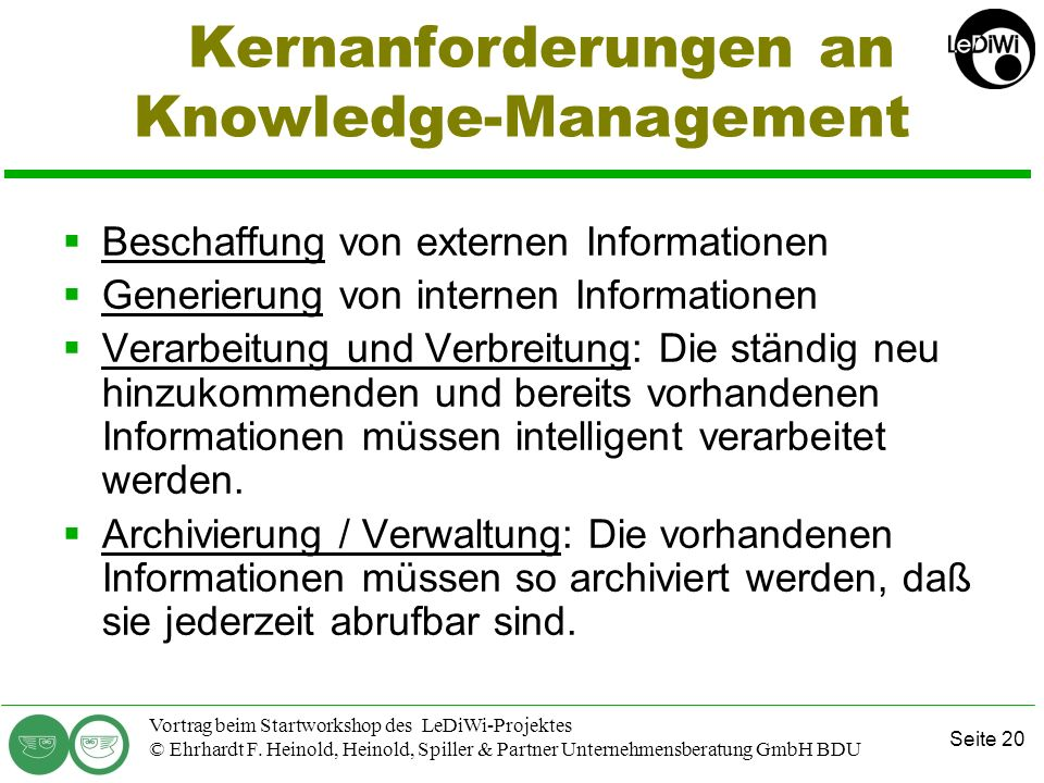 Kernanforderungen an Knowledge-Management