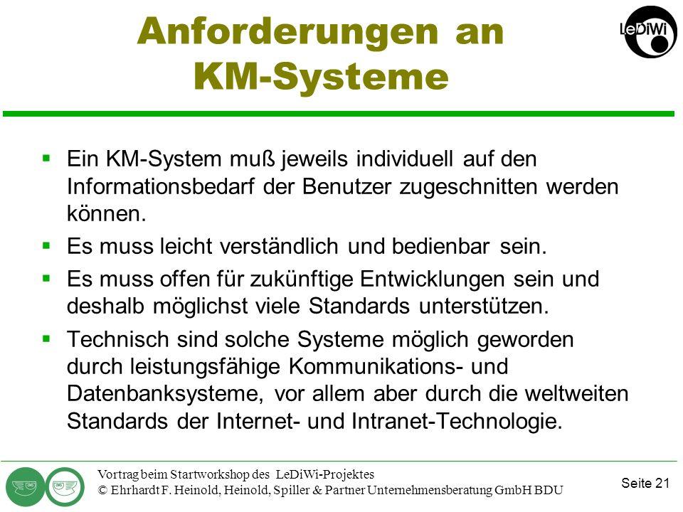 Anforderungen an KM-Systeme