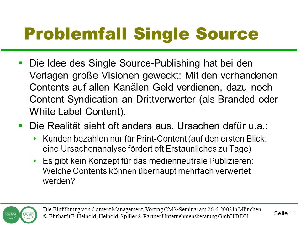 Problemfall Single Source