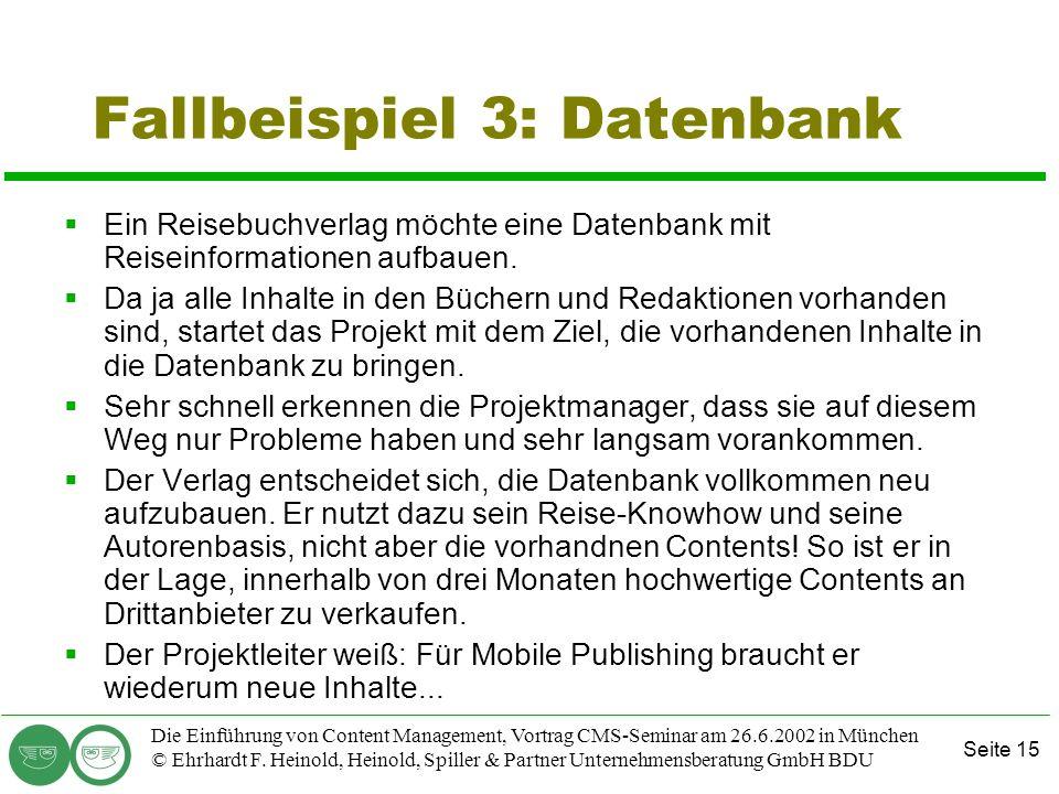 Fallbeispiel 3: Datenbank