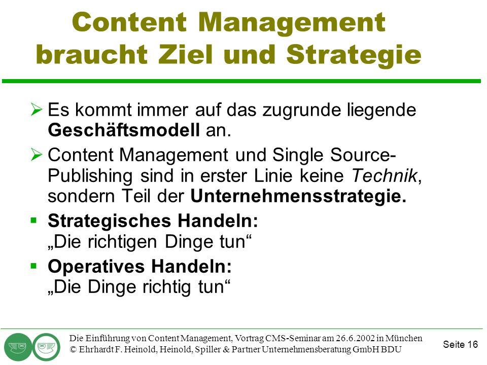 Content Management braucht Ziel und Strategie