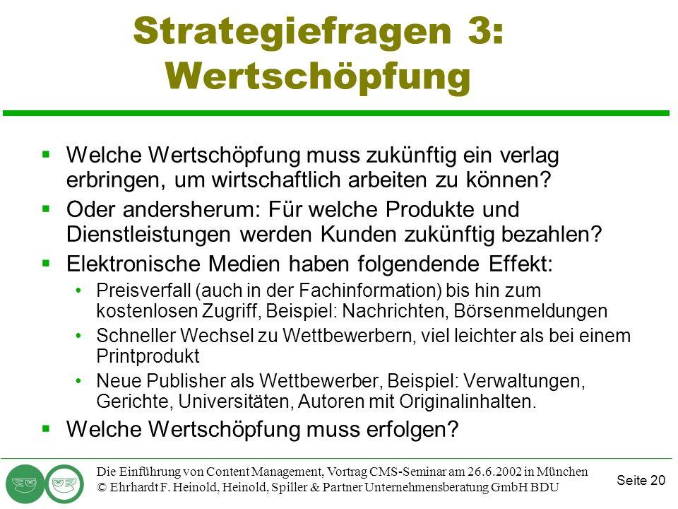 Strategiefragen 3: Wertschöpfung