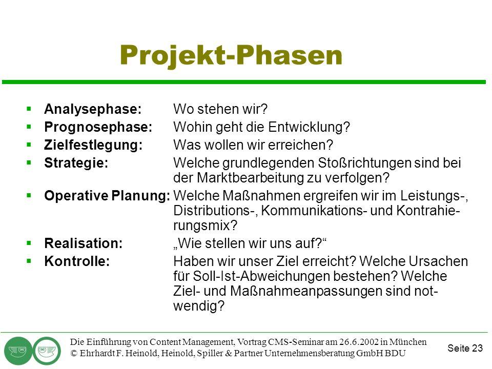 Projekt-Phasen Analysephase: Wo stehen wir