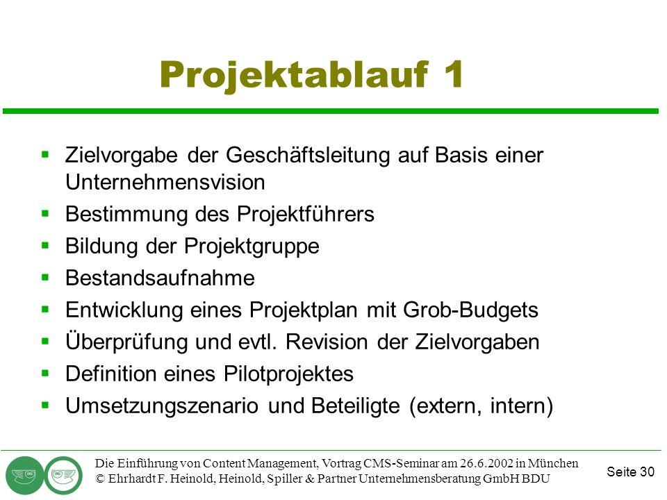 Projektablauf 1 Zielvorgabe der Geschäftsleitung auf Basis einer Unternehmensvision. Bestimmung des Projektführers.