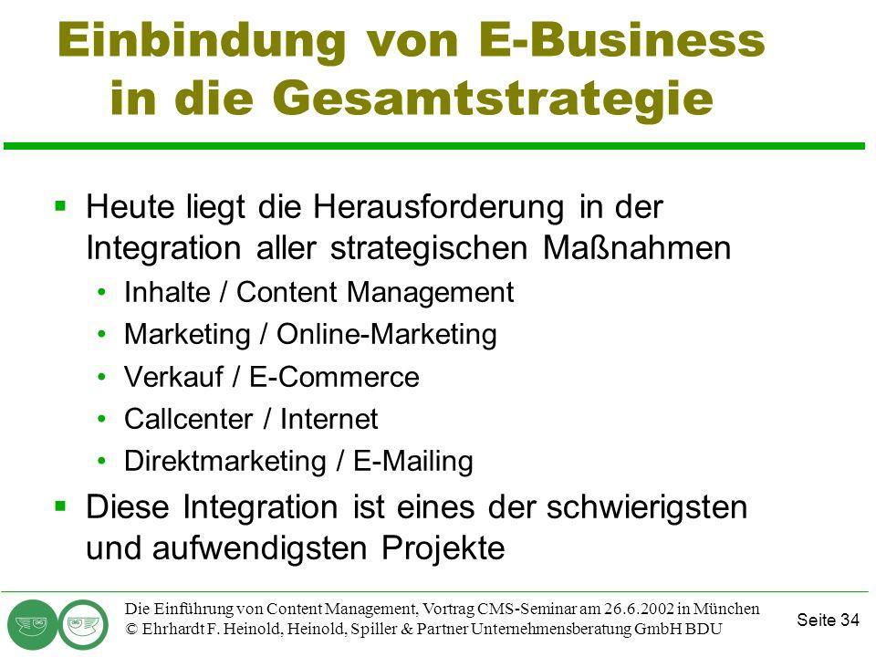 Einbindung von E-Business in die Gesamtstrategie
