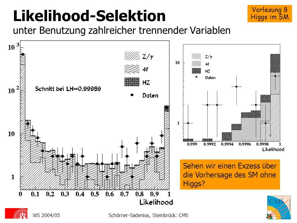 Likelihood-Selektion unter Benutzung zahlreicher trennender Variablen
