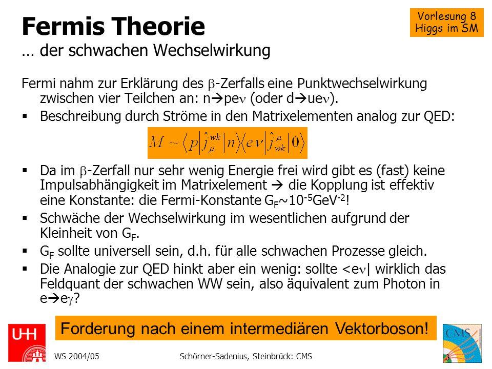 Fermis Theorie … der schwachen Wechselwirkung