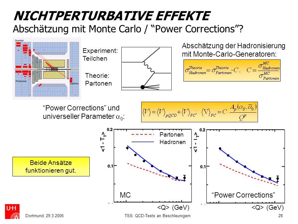 NICHTPERTURBATIVE EFFEKTE Abschätzung mit Monte Carlo / Power Corrections