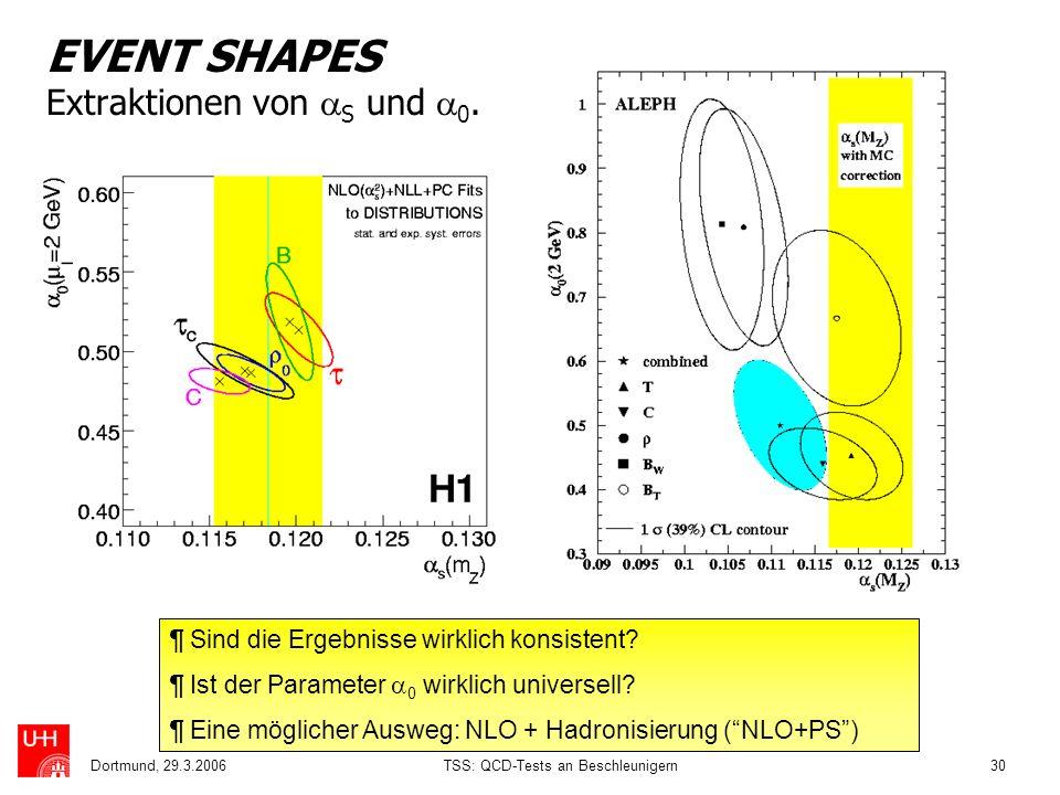 EVENT SHAPES Extraktionen von S und 0.