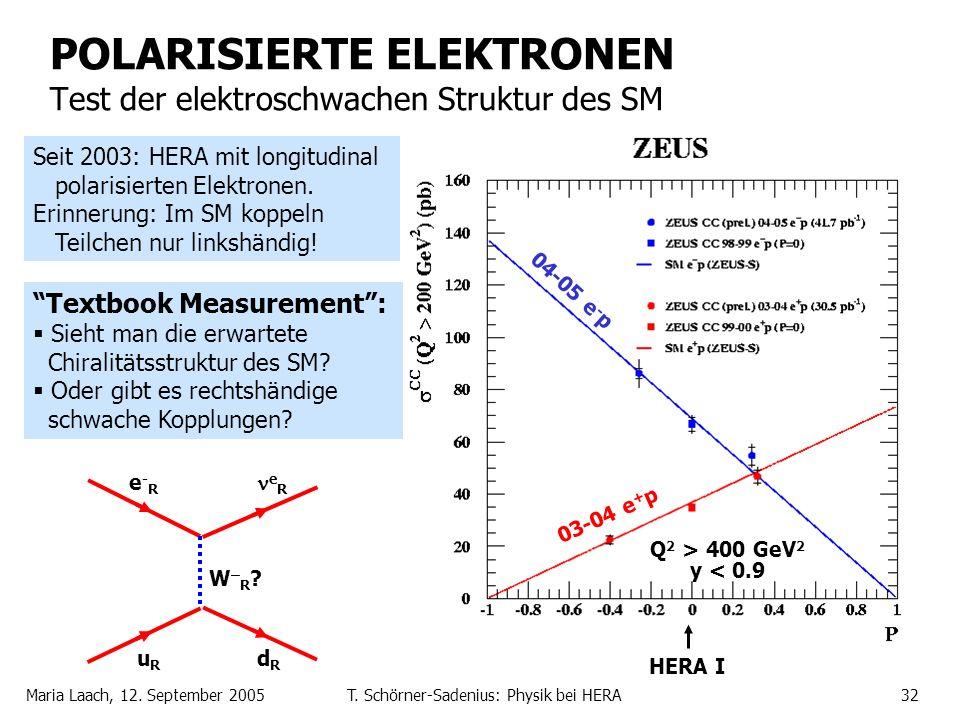 POLARISIERTE ELEKTRONEN Test der elektroschwachen Struktur des SM