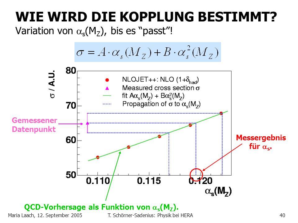 WIE WIRD DIE KOPPLUNG BESTIMMT Variation von s(MZ), bis es passt !