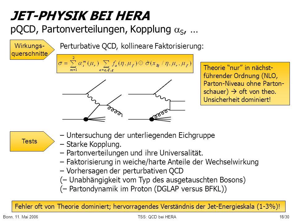 JET-PHYSIK BEI HERA pQCD, Partonverteilungen, Kopplung S, …