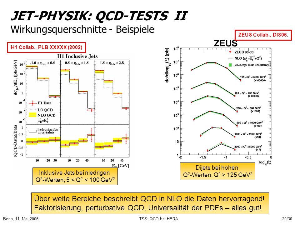 JET-PHYSIK: QCD-TESTS II Wirkungsquerschnitte - Beispiele