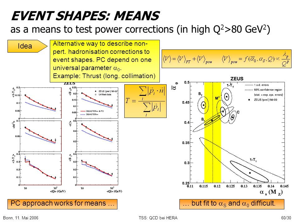 EVENT SHAPES: MEANS as a means to test power corrections (in high Q2>80 GeV2)