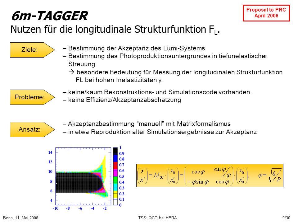 6m-TAGGER Nutzen für die longitudinale Strukturfunktion FL.