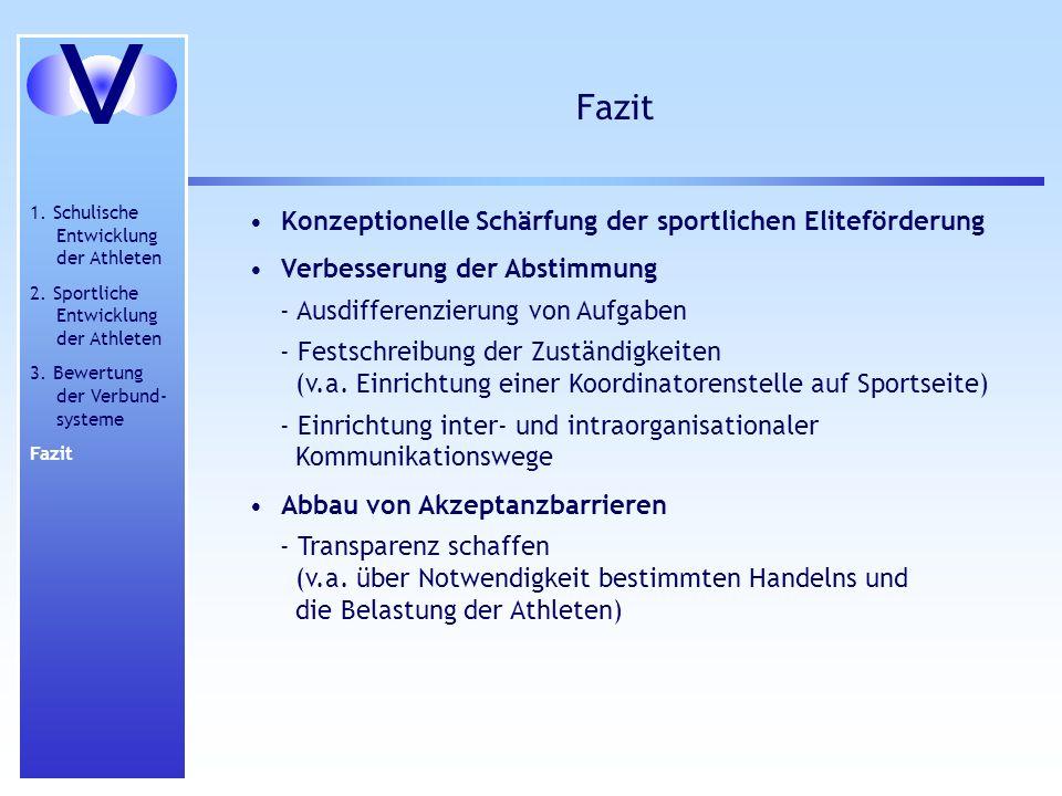 V Fazit Konzeptionelle Schärfung der sportlichen Eliteförderung