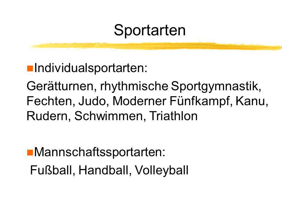 Sportarten Individualsportarten: