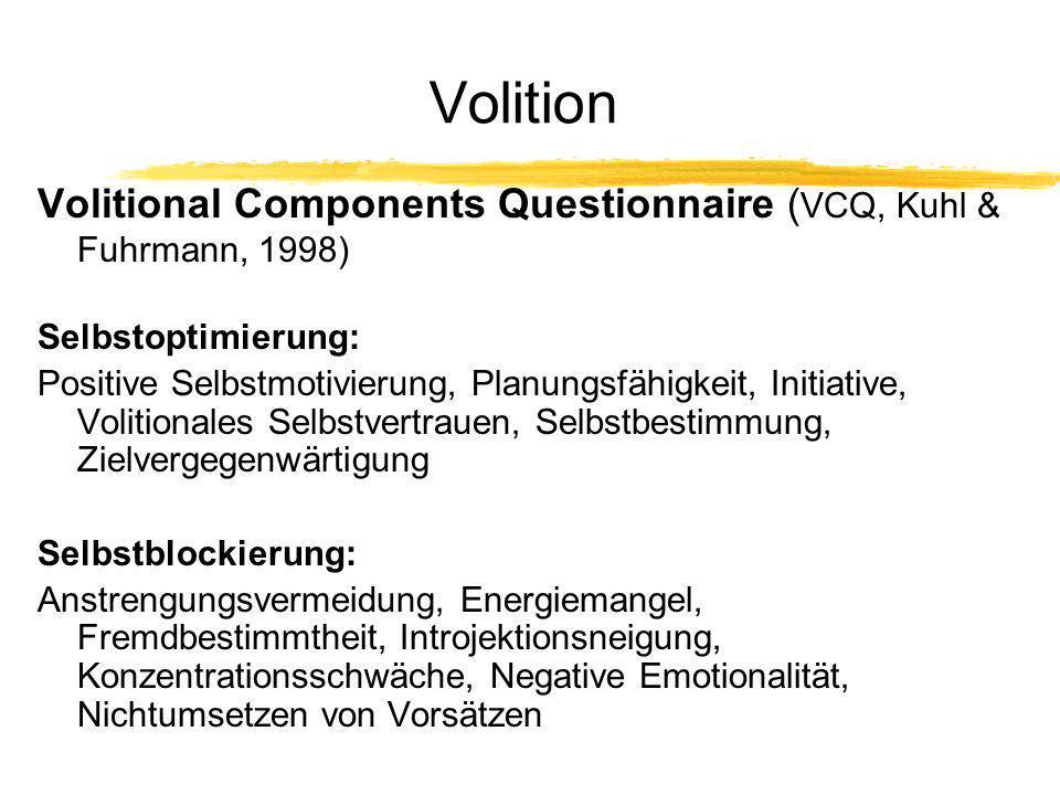 Volition Volitional Components Questionnaire (VCQ, Kuhl & Fuhrmann, 1998) Selbstoptimierung:
