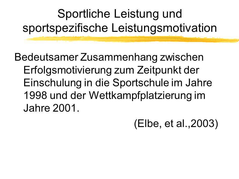 Sportliche Leistung und sportspezifische Leistungsmotivation