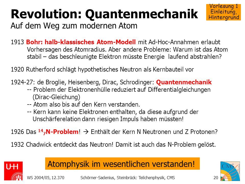 Revolution: Quantenmechanik Auf dem Weg zum modernen Atom