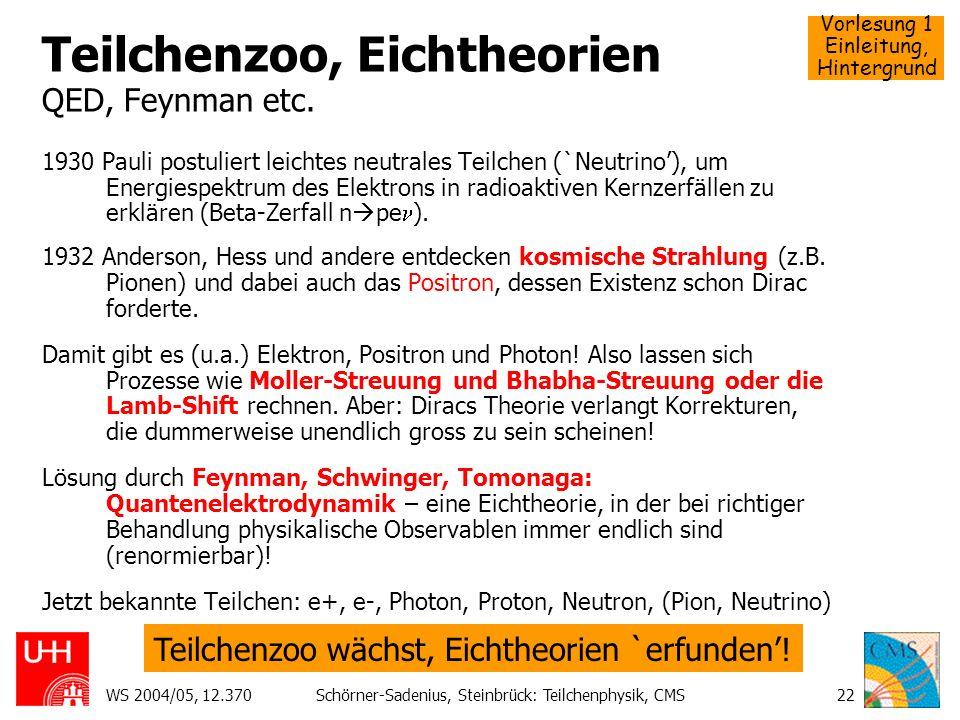 Teilchenzoo, Eichtheorien QED, Feynman etc.