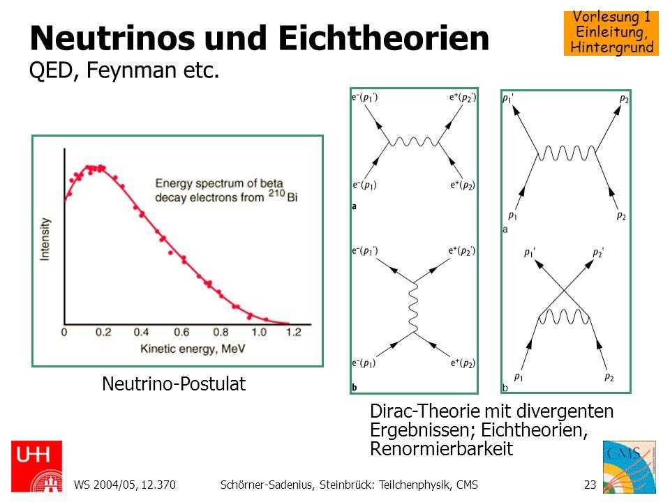 Neutrinos und Eichtheorien QED, Feynman etc.