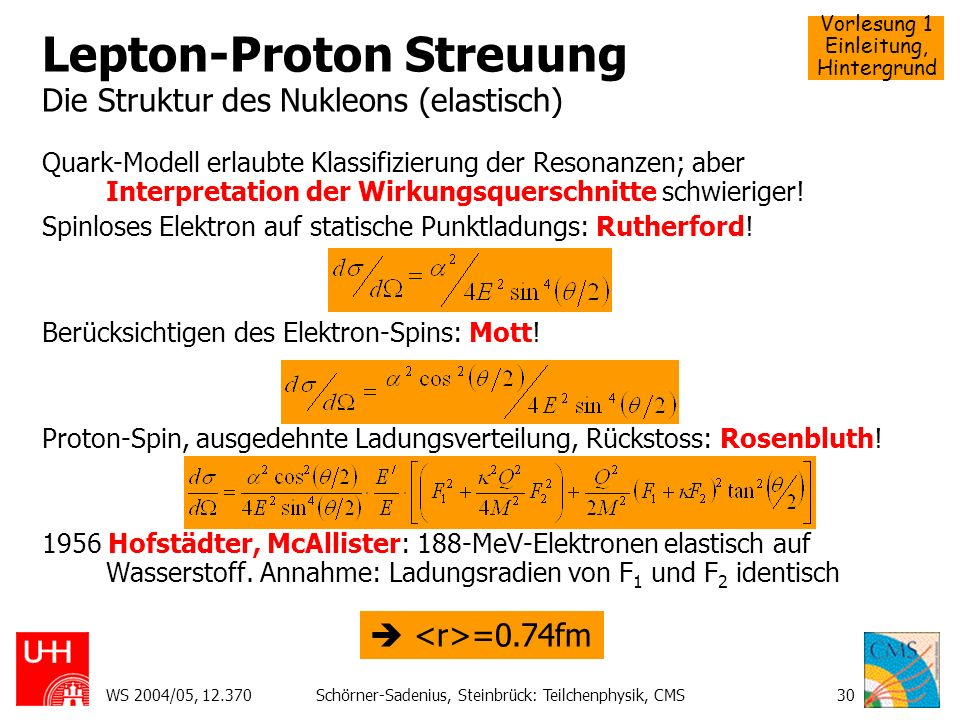 Lepton-Proton Streuung Die Struktur des Nukleons (elastisch)