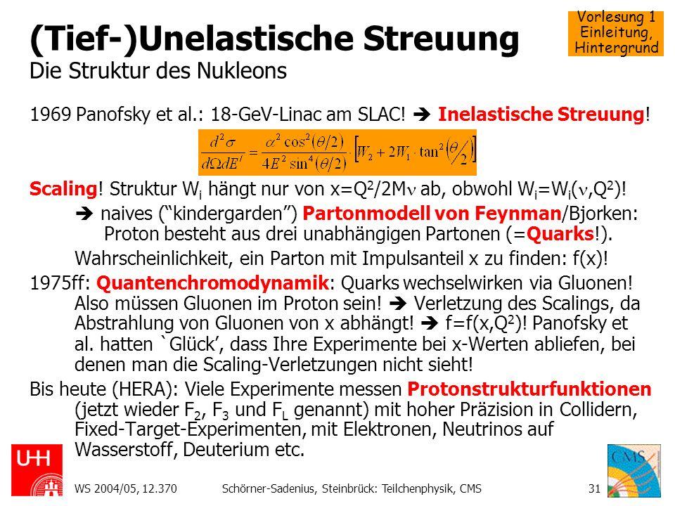(Tief-)Unelastische Streuung Die Struktur des Nukleons
