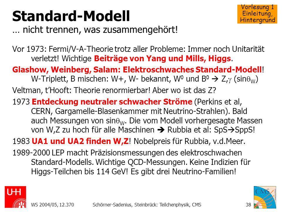 Standard-Modell … nicht trennen, was zusammengehört!