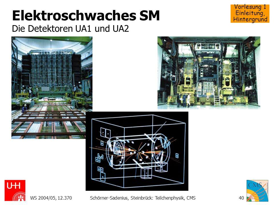 Elektroschwaches SM Die Detektoren UA1 und UA2