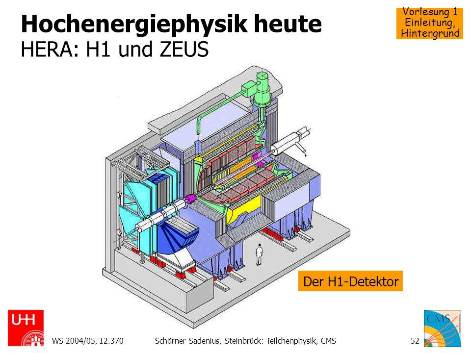 Hochenergiephysik heute HERA: H1 und ZEUS