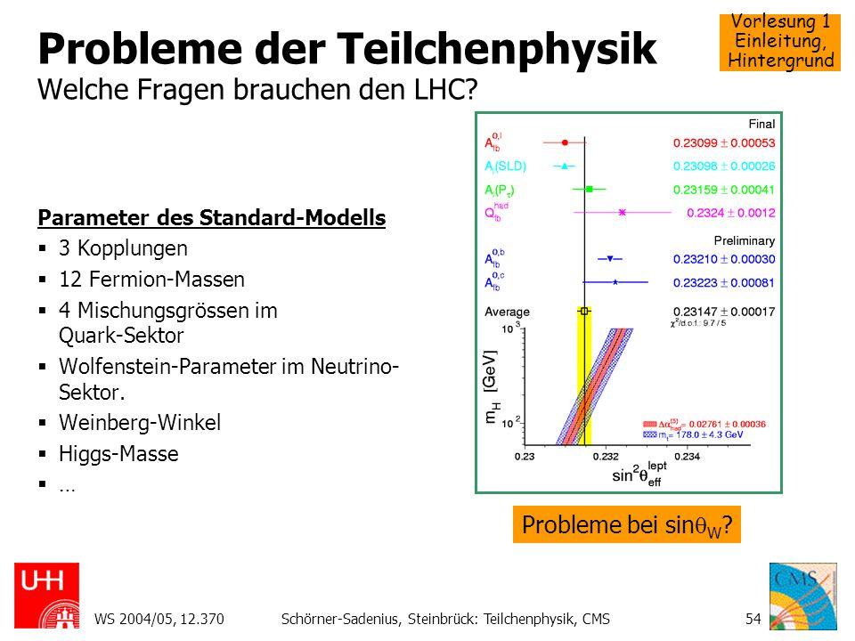 Probleme der Teilchenphysik Welche Fragen brauchen den LHC