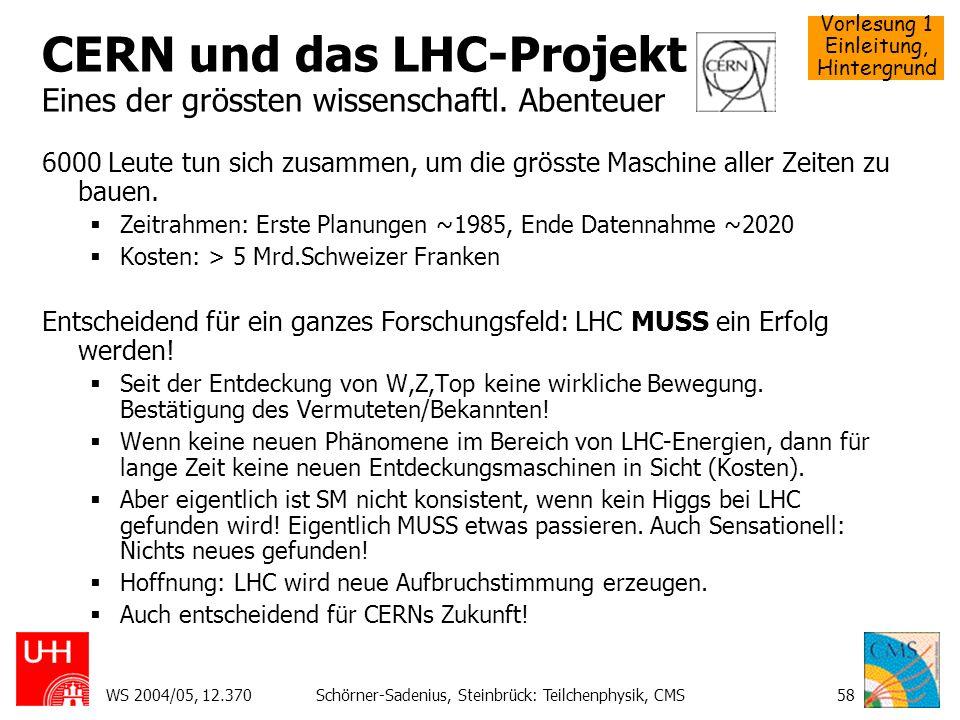 CERN und das LHC-Projekt Eines der grössten wissenschaftl. Abenteuer