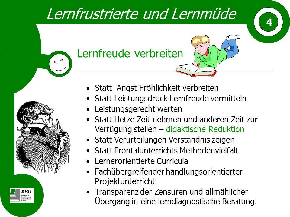 Lernfrustrierte und Lernmüde