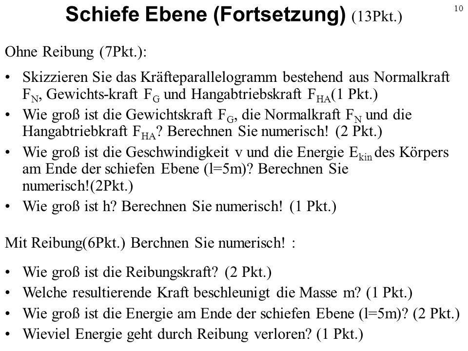 Schiefe Ebene (Fortsetzung) (13Pkt.)