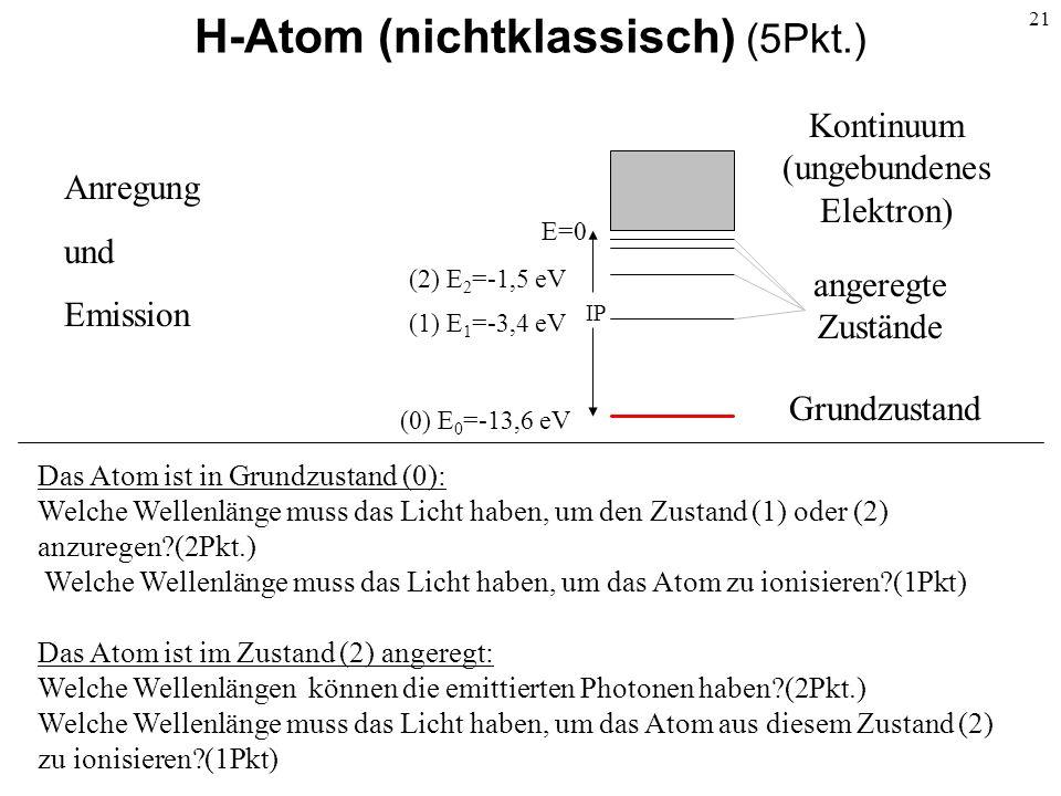 H-Atom (nichtklassisch) (5Pkt.)