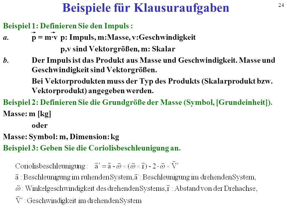 Beispiele für Klausuraufgaben