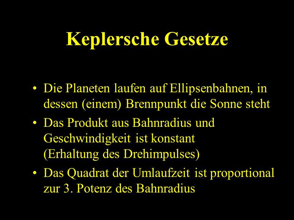 Keplersche GesetzeDie Planeten laufen auf Ellipsenbahnen, in dessen (einem) Brennpunkt die Sonne steht.