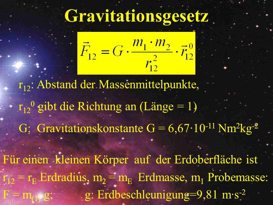 Gravitationsgesetz r12: Abstand der Massenmittelpunkte,