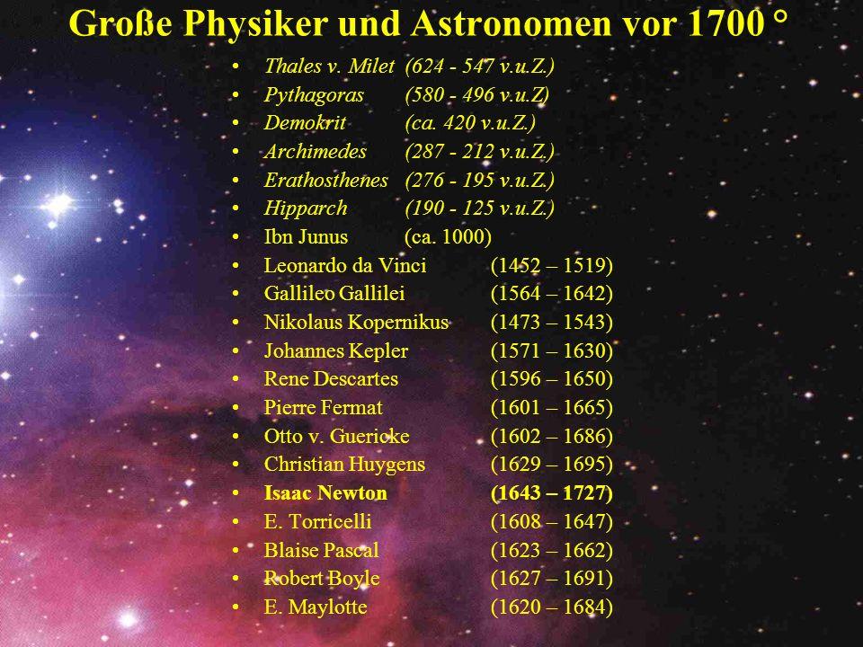 Große Physiker und Astronomen vor 1700 °
