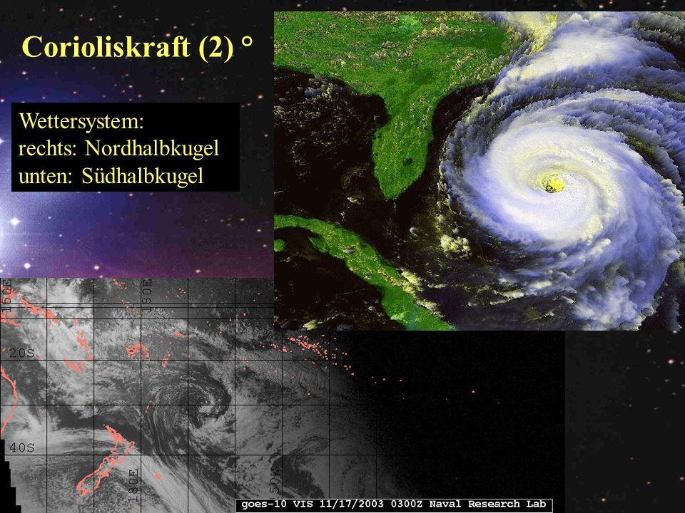 Corioliskraft (2) ° Wettersystem: rechts: Nordhalbkugel
