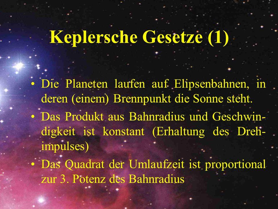 Keplersche Gesetze (1) Die Planeten laufen auf Elipsenbahnen, in deren (einem) Brennpunkt die Sonne steht.