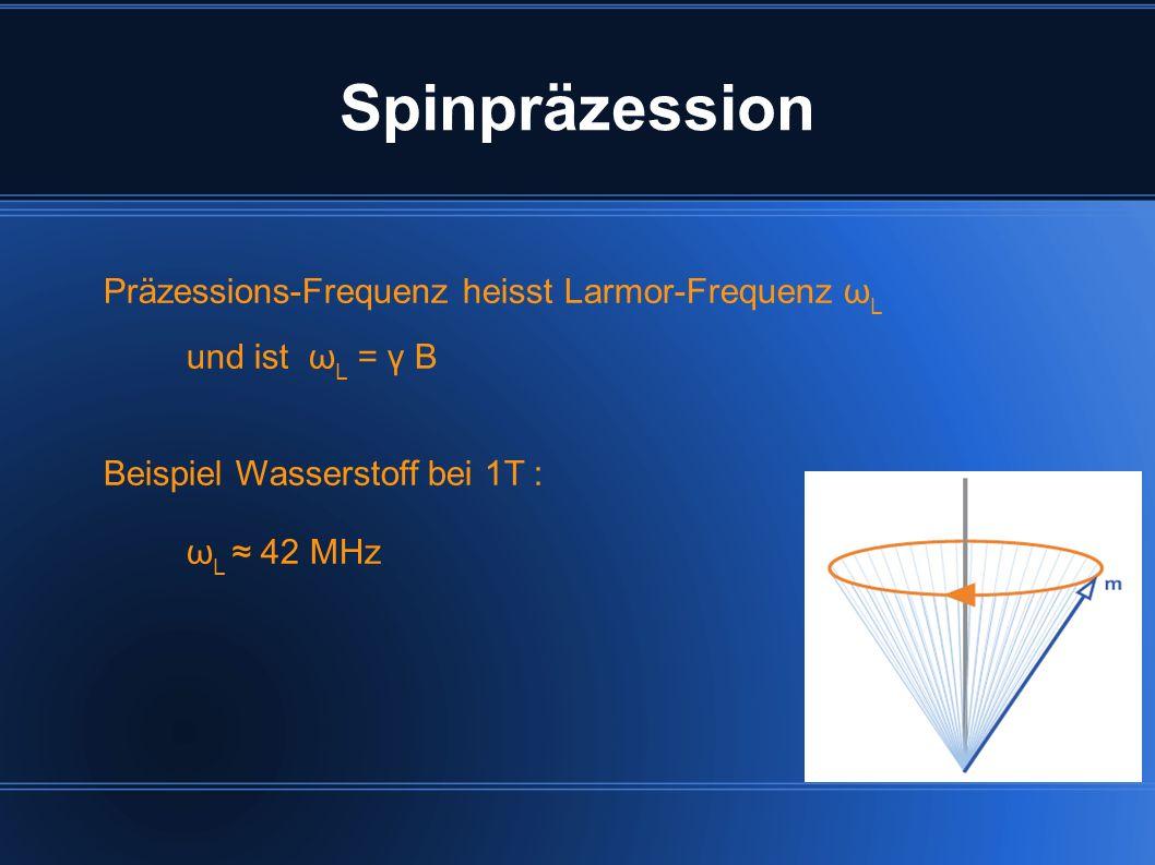 Spinpräzession Präzessions-Frequenz heisst Larmor-Frequenz ωL
