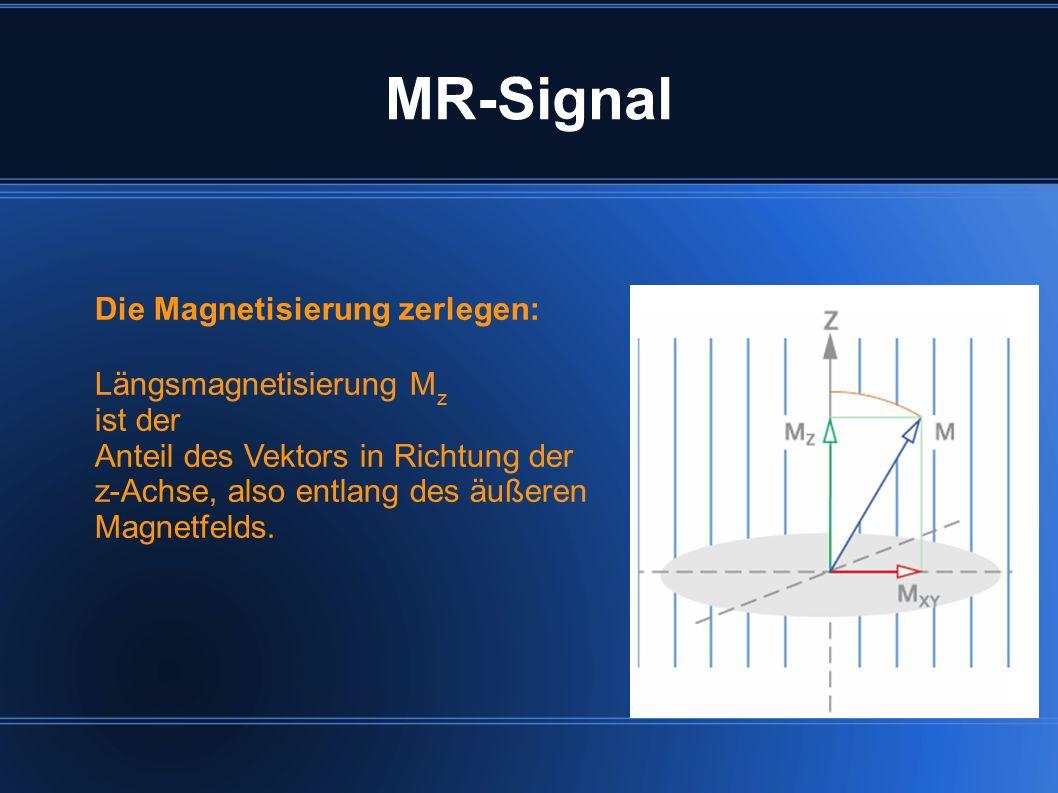 MR-Signal Die Magnetisierung zerlegen: Längsmagnetisierung Mz ist der
