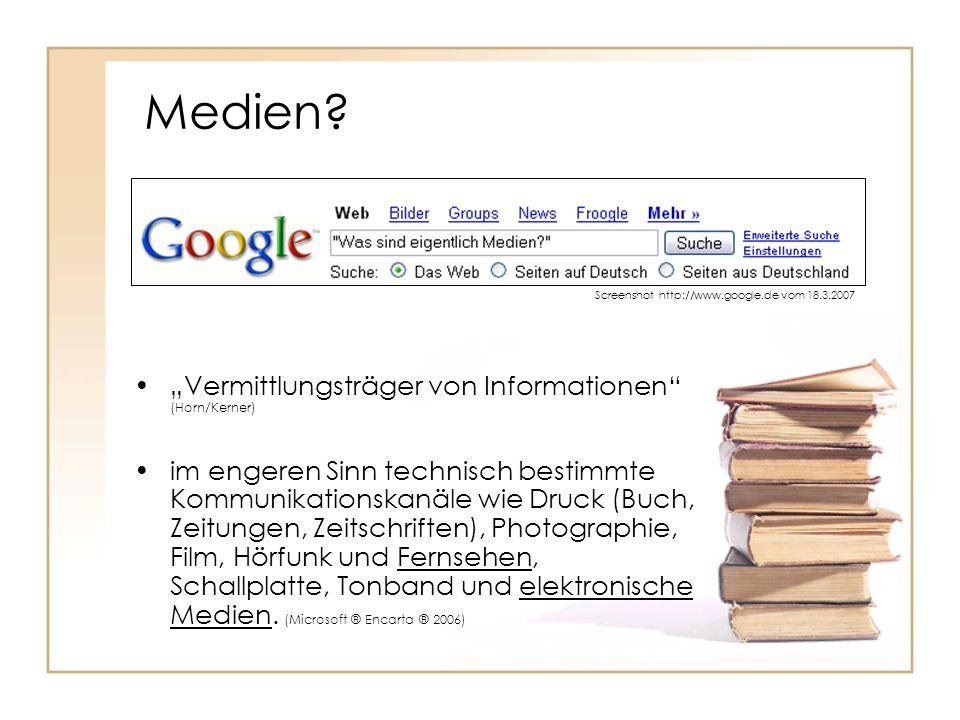 """Medien """"Vermittlungsträger von Informationen (Horn/Kerner)"""