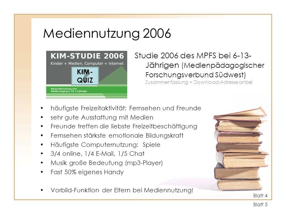 Mediennutzung 2006 Studie 2006 des MPFS bei 6-13-Jährigen (Medienpädagogischer Forschungsverbund Südwest) Zusammenfassung + Download-Adresse anbei.